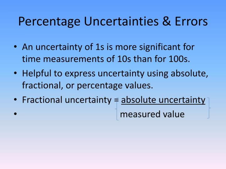 Percentage Uncertainties & Errors