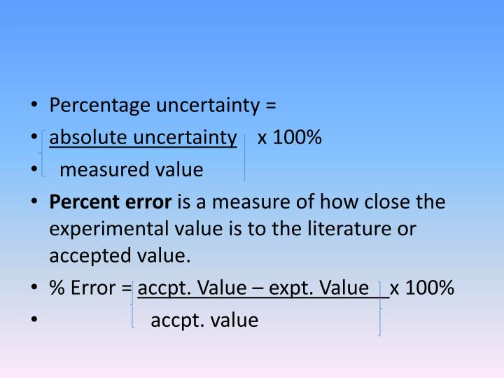 Percentage uncertainty =