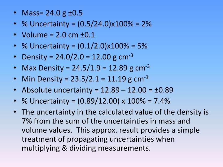 Mass= 24.0 g ±0.5