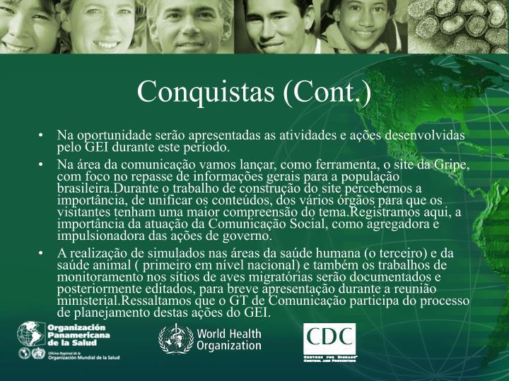 Conquistas (Cont.)