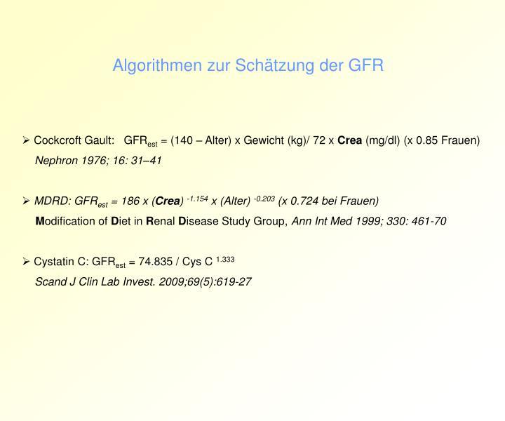 Algorithmen zur Schätzung der GFR