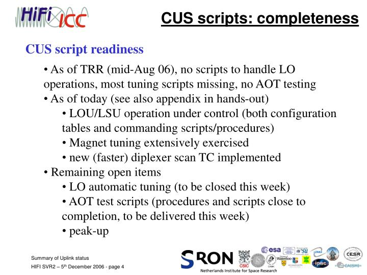 CUS scripts: completeness