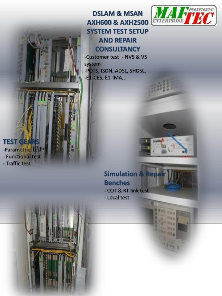 DSLAM & MSAN AXH600 & AXH2500 SYSTEM TEST SETUP AND REPAIR CONSULTANCY