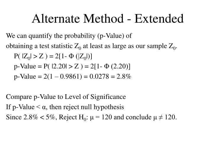 Alternate Method - Extended