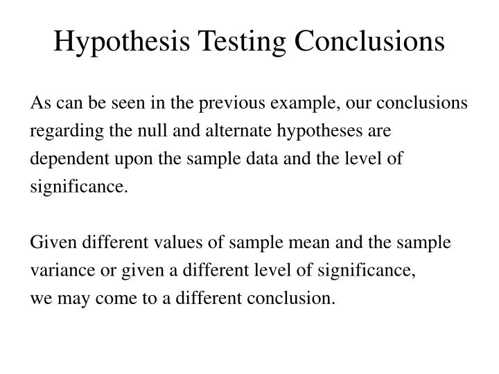 Hypothesis Testing Conclusions