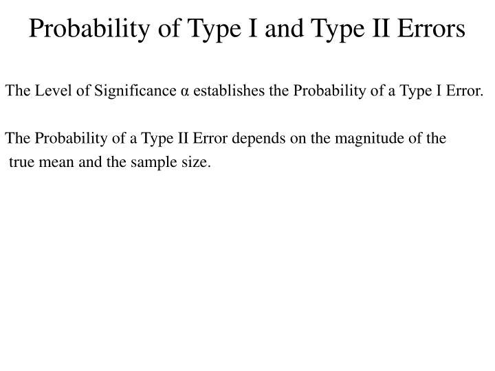 Probability of Type I and Type II Errors