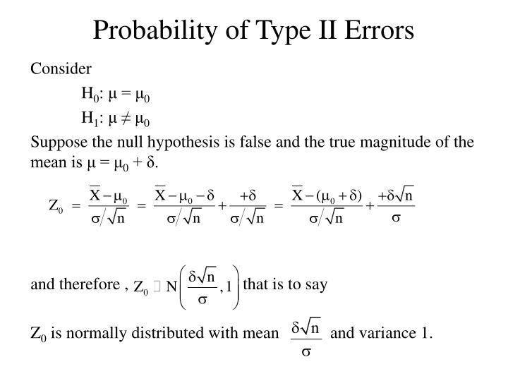 Probability of Type II Errors