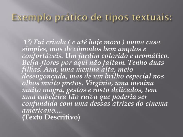 Exemplo prático de tipos textuais: