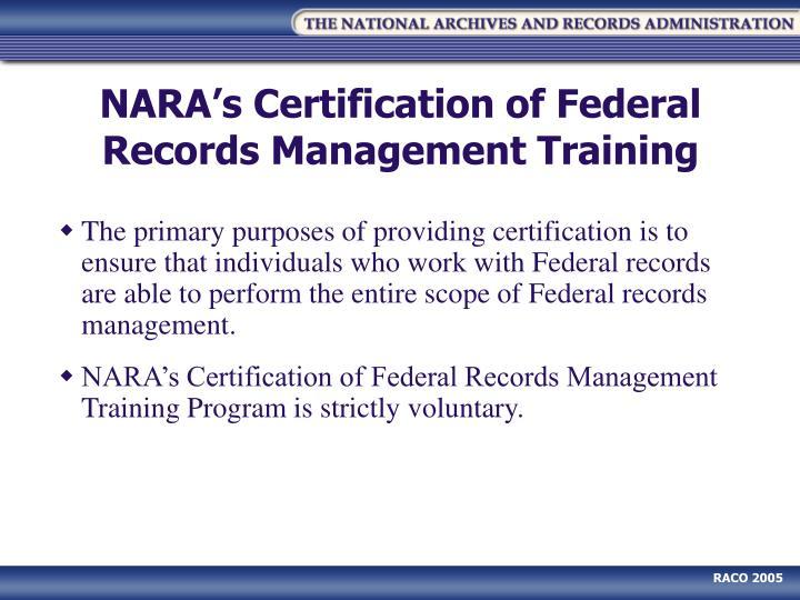 records management training federal certification nara outreach ppt powerpoint presentation mujumdar