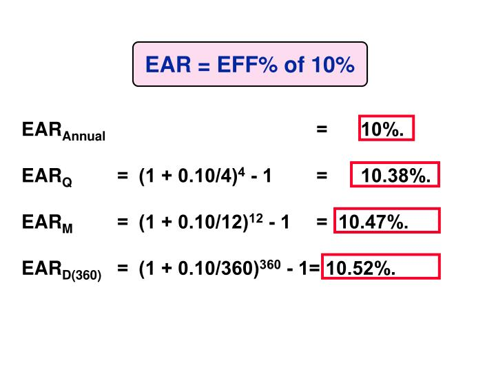 EAR = EFF% of 10%