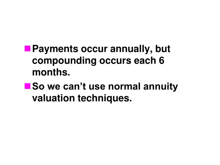 Payments occur annually, but compounding occurs each 6 months.