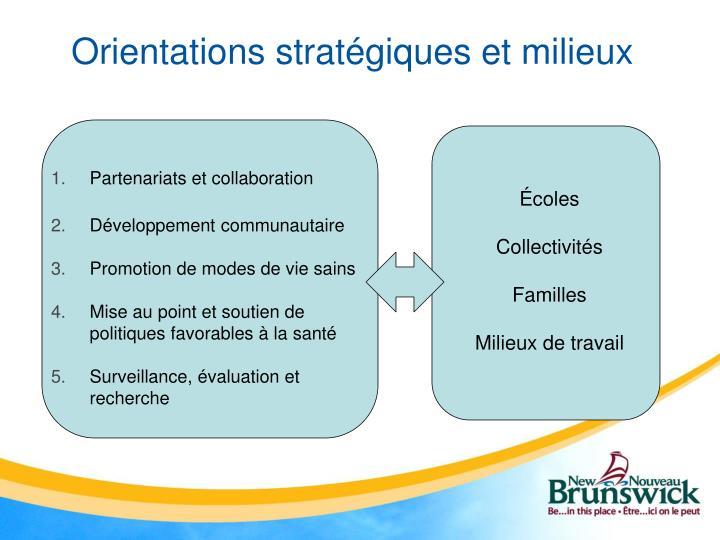 Orientations stratégiques et milieux