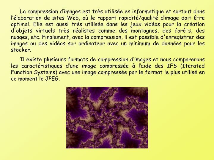 La compression dimages est trs utilise en informatique et surtout dans llaboration de sites Web, o le rapport rapidit/qualit dimage doit tre optimal. Elle