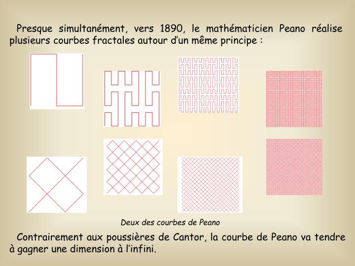 Presque simultanment, vers 1890, le mathmaticien Peano ralise plusieurs courbes fractales autour dun mme principe: