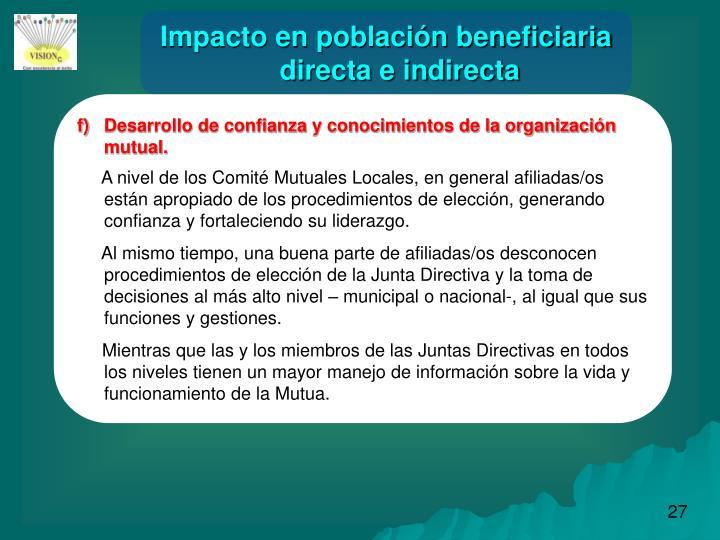 Impacto en población beneficiaria directa e indirecta