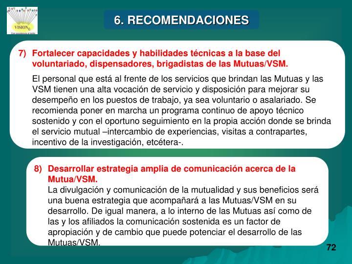 6. RECOMENDACIONES