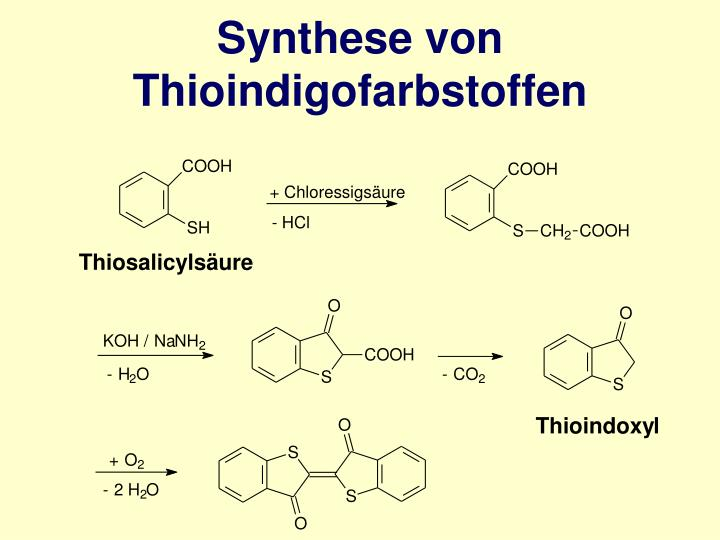 Synthese von Thioindigofarbstoffen