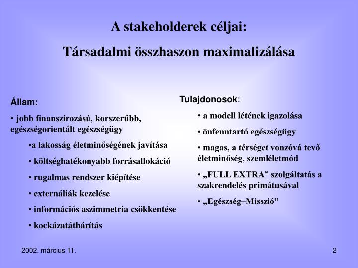 A stakeholderek céljai: