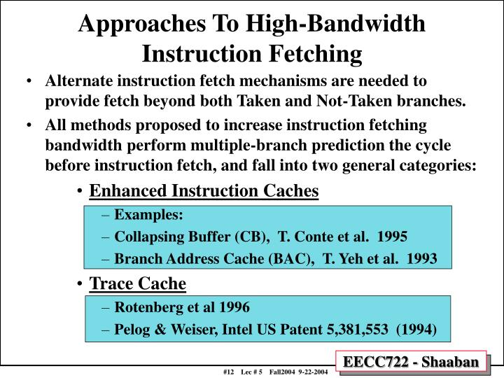Approaches To High-Bandwidth Instruction Fetching