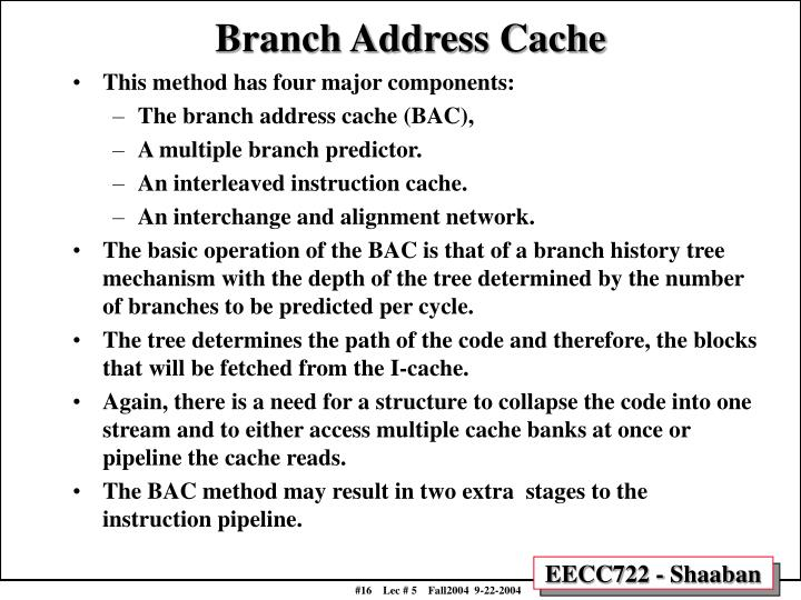Branch Address Cache