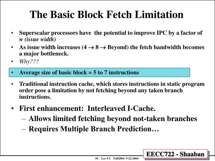 The Basic Block Fetch Limitation