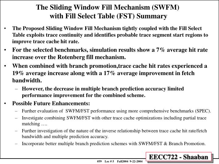 The Sliding Window Fill Mechanism (SWFM)