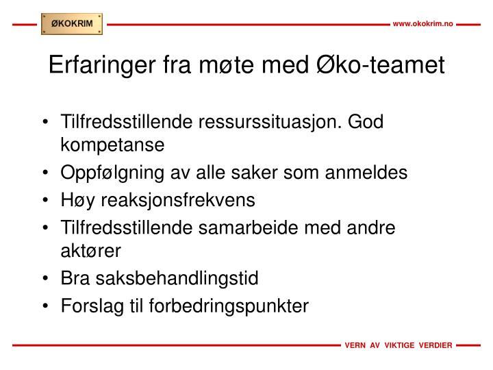Erfaringer fra møte med Øko-teamet