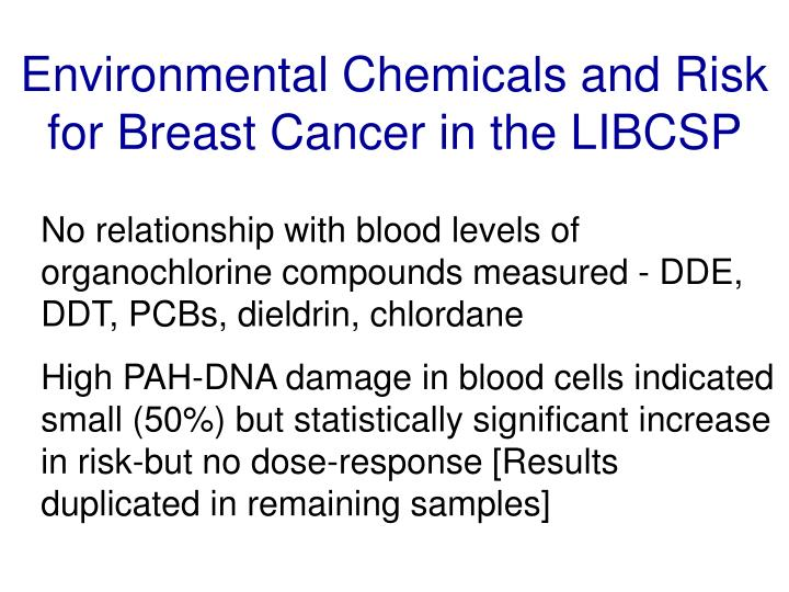 Environmental Chemicals and Risk for Breast Cancer in the LIBCSP