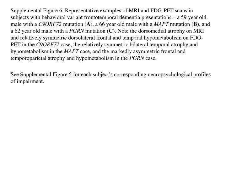 Supplemental Figure 6. Representative examples of MRI and FDG-PET scans in subjects with behavioral ...