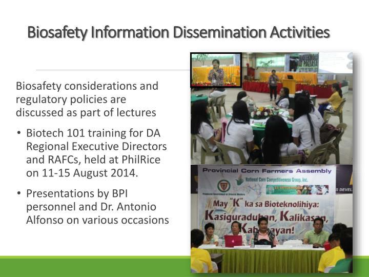 Biosafety Information Dissemination