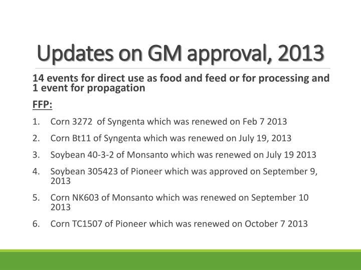 Updates on GM