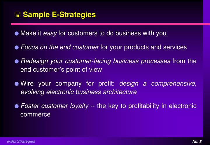 Sample E-Strategies