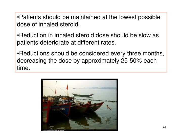 Patients should be maintained at the lowest possible dose of inhaled steroid.
