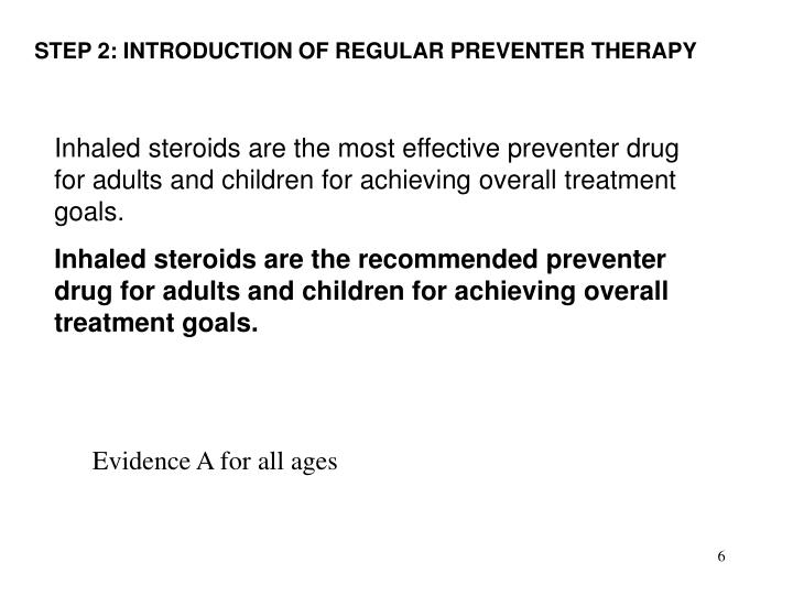 STEP 2: INTRODUCTION OF REGULAR PREVENTER THERAPY