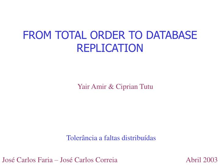 From total order to database replication