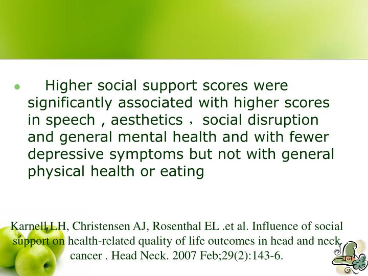 Higher social support scores were significantly associated with higher scores in speech , aesthetics
