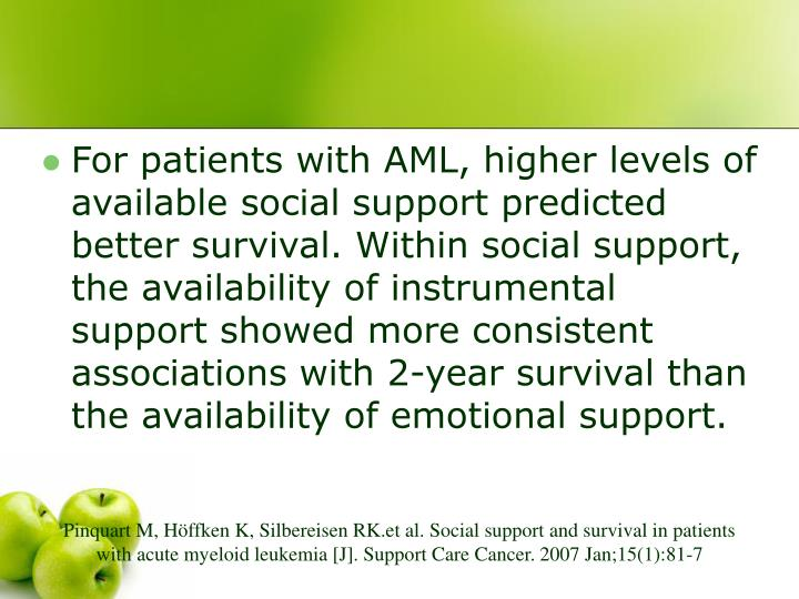 For patients with AML, higher levels of available social support predicted better survival. Within social support, the availability of instrumental support showed more consistent associations with 2-year survival than the availability of emotional support.