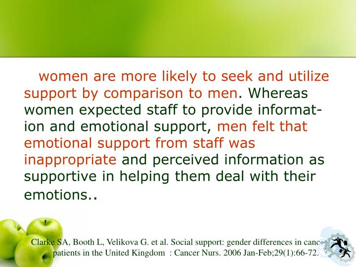 women are more likely to seek and utilize support by comparison to men