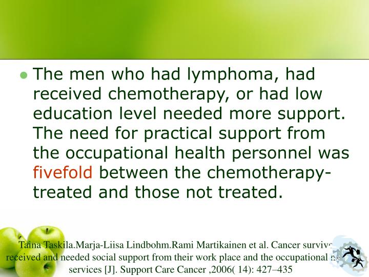 The men who had lymphoma, had received chemotherapy, or had low education level needed more support. The need for practical support from the occupational health personnel was
