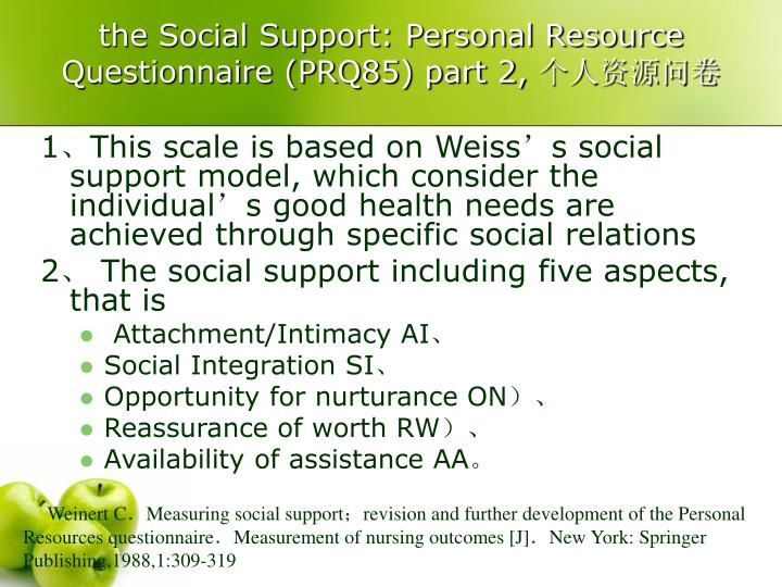 the Social Support: Personal Resource Questionnaire (PRQ85) part 2,