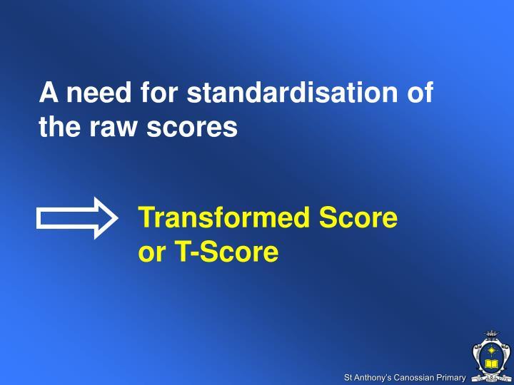 Transformed Score or T-Score