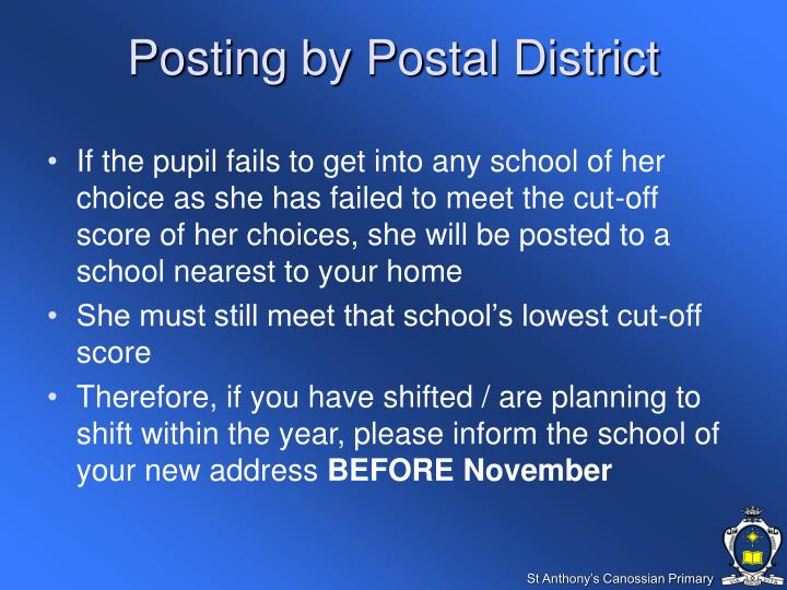 Posting by Postal District