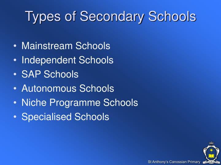 Types of Secondary Schools