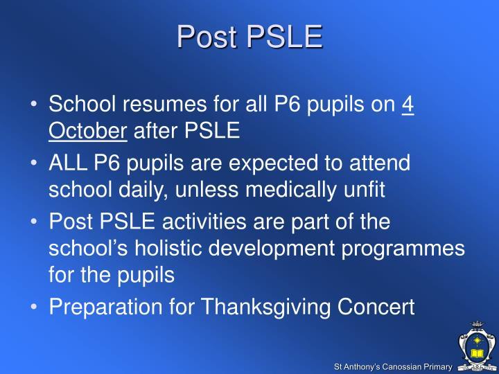 Post PSLE