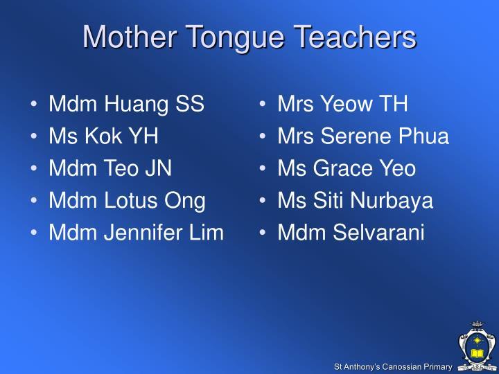 Mother Tongue Teachers