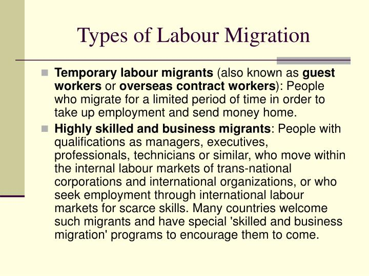 Types of Labour Migration