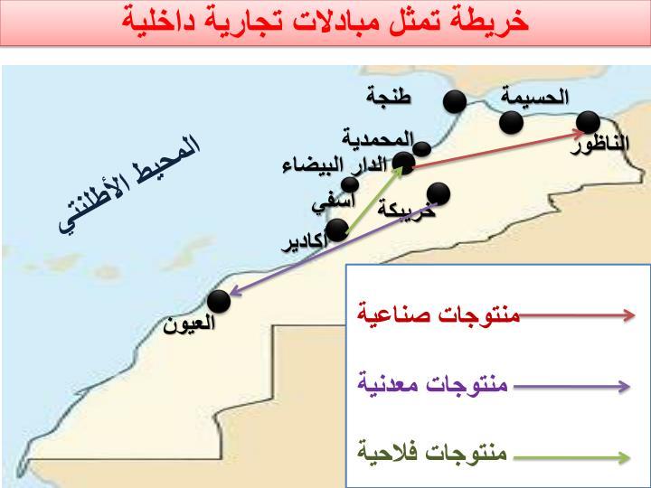 خريطة تمثل مبادلات تجارية داخلية