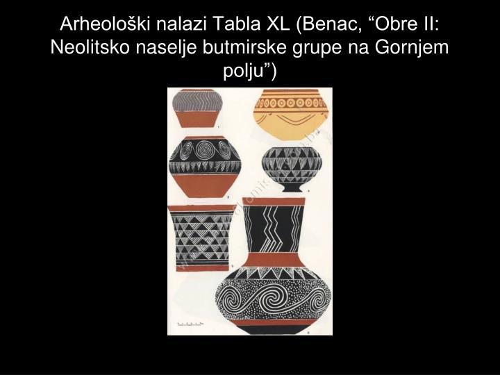 "Arheološki nalazi Tabla XL (Benac, ""Obre II: Neolitsko naselje butmirske grupe na Gornjem polju"")"