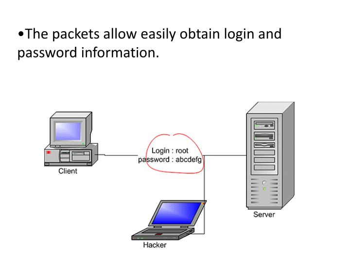 The packets allow easily obtain login and               password information.