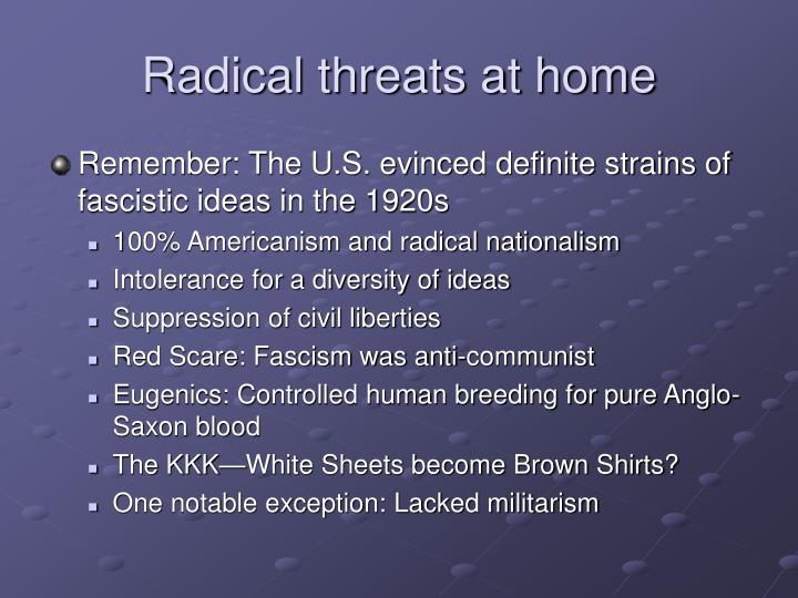 Radical threats at home